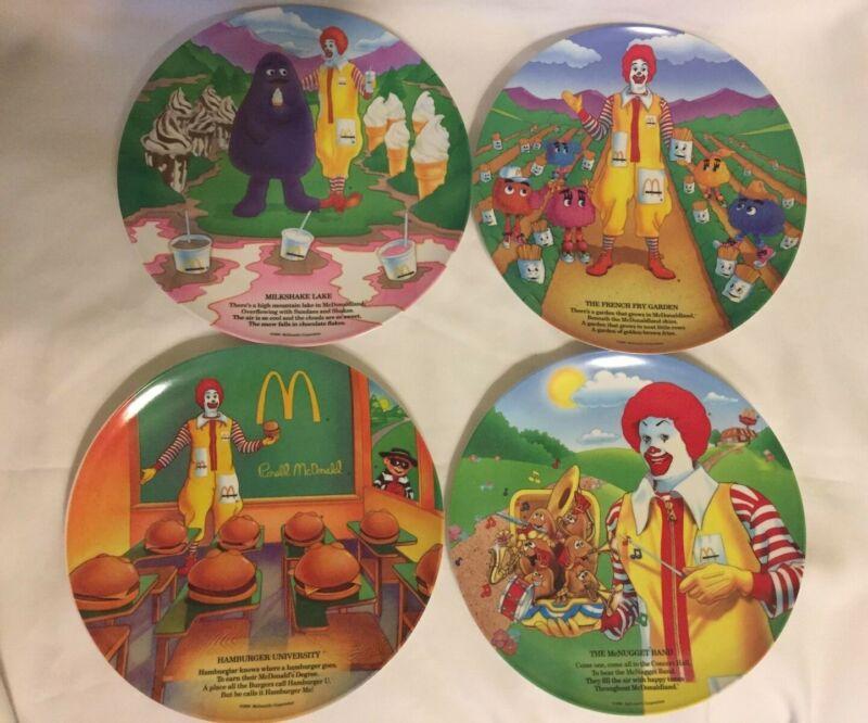 Vintage 1989 McDonalds Set of 4 Plastic Melamine Collectors Plates NEW