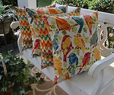 Set of 4 In/Outdoor Square Toss Pillows - Universal (Orange Blue Yellow Green) ()