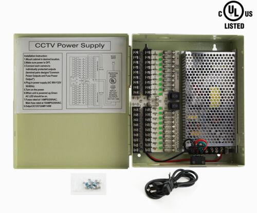18 Outputs 12A 12V DC CCTV Distribution Power Supply 4 Security Camera UL Listed