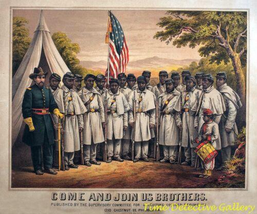 Civil War Colored Troops Recruitment Broadside - Historic Art Print