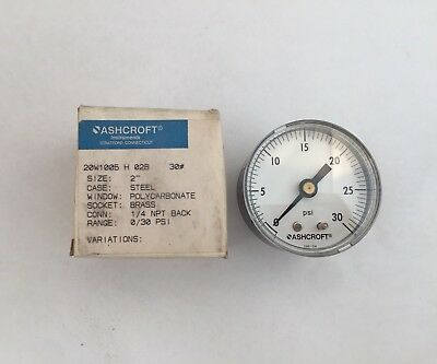 New Ashcroft 2 Pressure Gauge 20w1005 H 02b 30 14 Npt 0-30psi