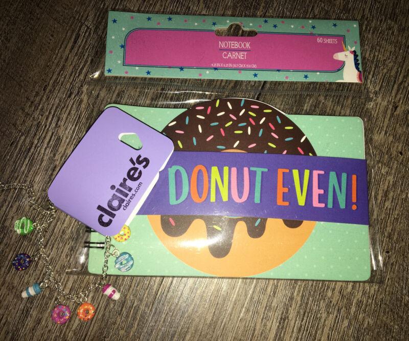 Claire's Donut Coffee Charm Bracelet Jewelry Notebook Diary Lot Nwt