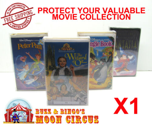 1x VHS MOVIE LARGE CLAMSHELL (SIZE C) CLEAR PLASTIC PROTECTIVE BOX PROTECTORS