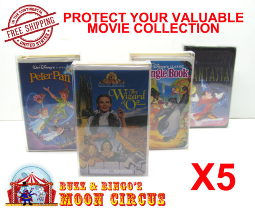 5x VHS MOVIE LARGE CLAMSHELL (SIZE C) CLEAR PLASTIC PROTECTIVE BOX PROTECTORS