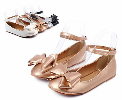 Champagne Pretty Ankle Double Bow Padded Cushion Ballerina Kids Girls Size 4