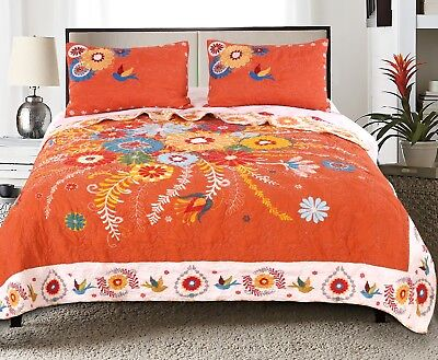 3pc TOPANGA King Quilt Set Folk Art Funky Floral-Vine Nature Bird Boho Chic