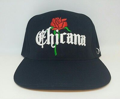 CUSTOM VINTAGE STYLE  CHICANA  WITH ROSE  LADIES BLACK  SNAPBACK HAT