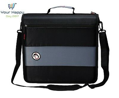 New Case-it 2-inch Ring Zipper Binder Black Student Handle Shoulder Strap