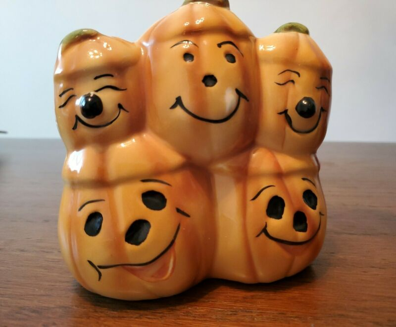 Vintage Japan Relpo Halloween Stacked  Pumpkins Jack O' Lantern Planter or Candy