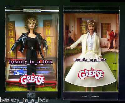 GREASE Barbie Doll Sandy Black Yellow 25th Anniversary Olivia Newton John Lot 2