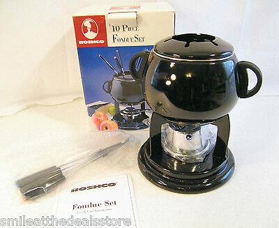 Roshco 10-pc Black Enamel Fondue Set Modern Kitchen Design W/ Forks