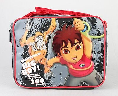 Go Diego Go!  Insulated Lunch Bag Boys Kids Snack Lunch Box Bag Black and Red