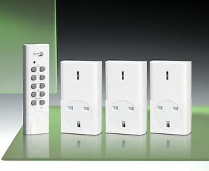 Home Easy Remote Control  3 Pack Socket Kit, White
