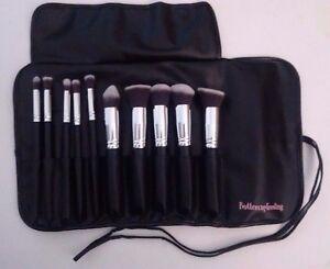 professional black 10pcs kabuki brush set with brush case roll.