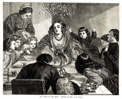 1868 Victorian Flaming Christmas Pudding at British Christmas Dinner Table ()
