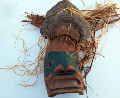 Northwest Coast Makah Cedar Mask with Cedar Bark Hair and Shelf Fungus ca 1950