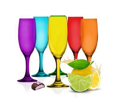 6 bunte Sektgläser 200ml Sektkelche Champagner Prosecco Sektglas Proseccoglas