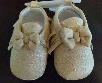 NEW Cutie Pie Baby Girls Shoes SZ 3 (6-9M) faux suede tan/gold moccasins - Cutie Pie Shoes