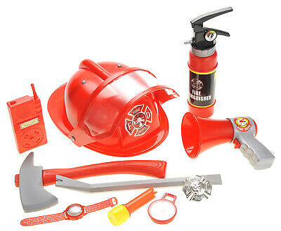 10 Pcs Fireman Gear Firefighter Costume Role Play Toy Set for Kids with - Fireman Costumes For Kids