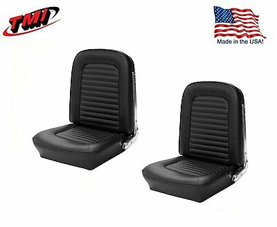 1966 Mustang Front Bucket Seat Upholstery- Pair- Black Made by TMI - IN (Front Bucket Seat Upholstery)