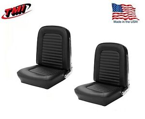 1966 Mustang Front Bucket Seat Upholstery- Pair- Black Made by TMI - IN STOCK!!