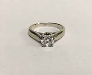 *APPRAISED* 14K White Gold 0.77CT Ladies Solitaire Diamond Ring
