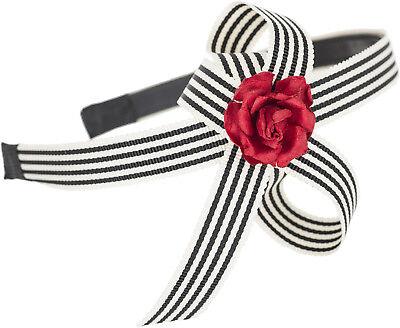 Striped Sailor JILLIAN Red Rose BOW Streifen Haarreif / Hairband ()