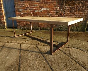 Reclaimed industrial chic 8 10 seater solid wood copper for 10 seater solid oak dining table