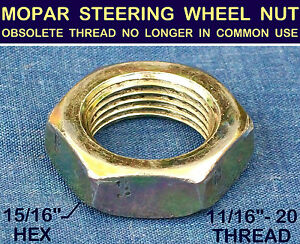 NOS-OLD-STEERING-WHEEL-NUT-1950s-50s-MOPAR-OBSOLETE-11-16-20-Extra-Fine-THREAD