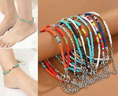 Handmade Ankle Bracelet Women Fashion Beaded Adjustable Beach Anklet Anklets