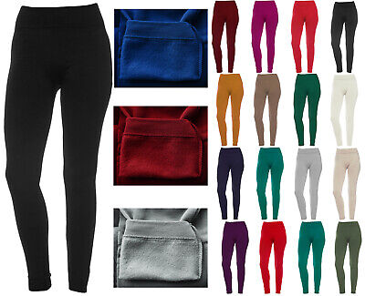 Women's Fleece Solid Colors Winter Thick Warm Basic Stretchy Leggings Clothing, Shoes & Accessories