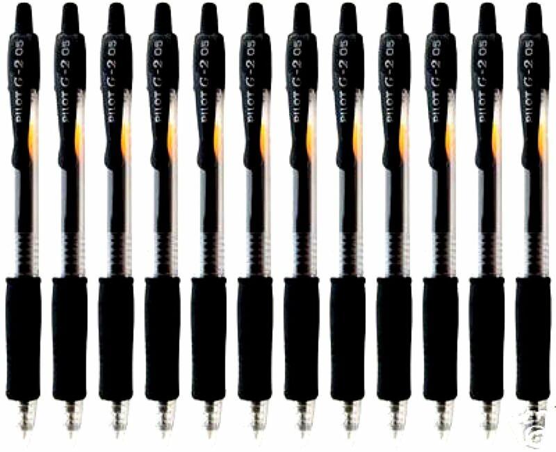 12 PILOT G2 BLACK Extra Fine 0.5mm RT ROLLERBALL PENS **