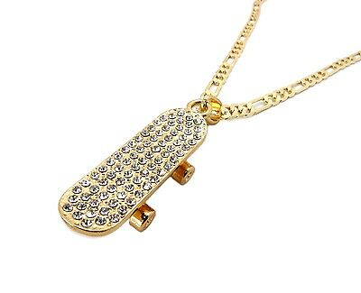 New Iced Out Skateboard Pendant   5Mm 24  Figaro Chain Hip Hop Necklace   Msp185