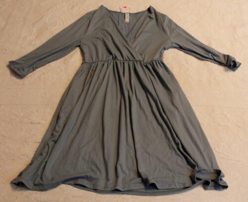 Zenana Outfitters Women's Long Sleeve V-Neck Dress DD5 Blue