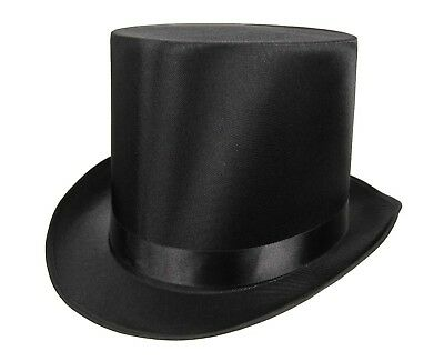 Tall QUALITY SATIN Top Hat Slash Victorian Steampunk Dickens Costume Black Adult - Top Hat Costume