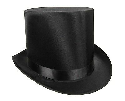Tall Satin Top Hat Victorian Steampunk Dickens Slash Formal Costume Black Adult - Top Hat Costume