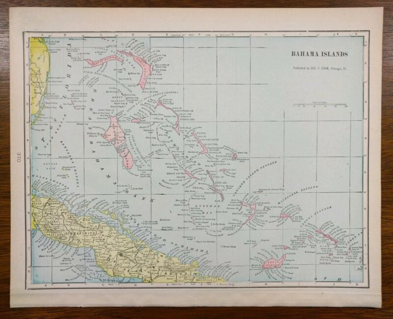 Vintage 1902 BAHAMA ISLANDS Atlas Map ~ Old Antique NASSAU TURKS CAYCOS ANDROS