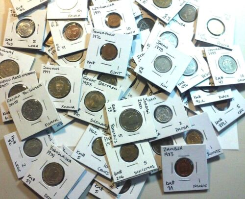 15 Nicely labeled World Coin Lot - All in 2 X 2 Coin Flips - No Duplicates