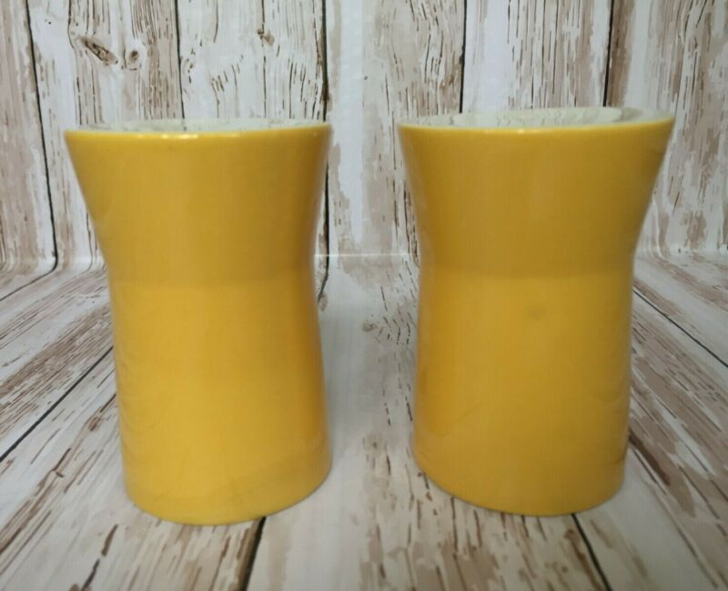 Vintage ceramic salt and pepper shakers - yellow modern look - Made in Japan