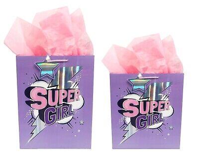 Birthday Gift Bags Kids Girls Large Medium Pink Party Tissue