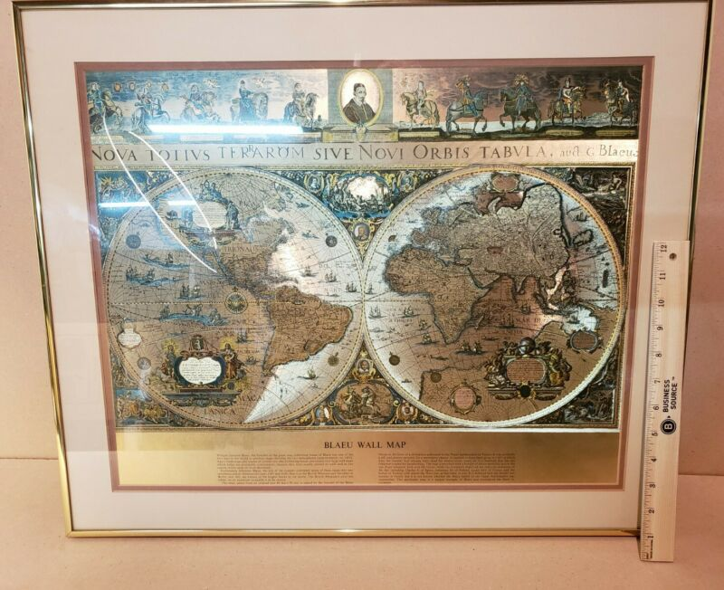 Vintage Framed Gold Foil Blaeu Wall Map of Old and New World