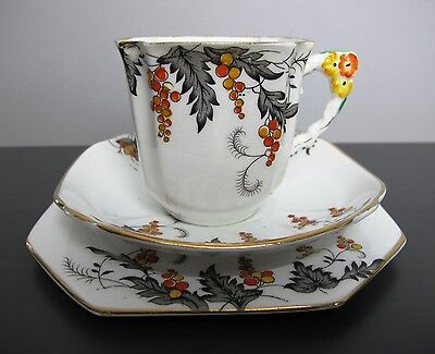Vintage Art Deco Royal Stafford bone china Autumn TEA TRIO: cup, saucer & plate.