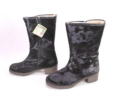C2029 Damen Lammfellstiefel Fellstiefel Yeti Boots schwarz Gr. 40,5 Vintage Boho