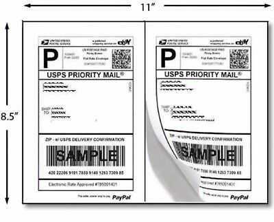 200 Half Sheet Self Adhesive Internet Shipping Labels For Ebay Paypal 8.5 X 5.5