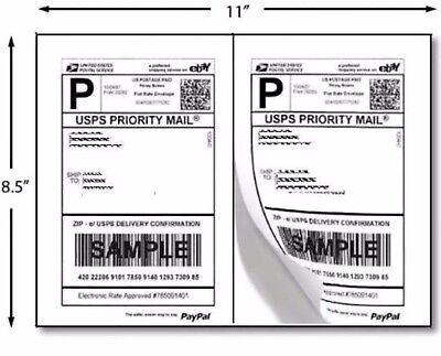 400 Half Sheet Self Adhesive Internet Shipping Labels For Ebay Paypal 8.5 X 5.5
