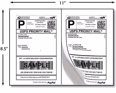 200 Premium Self Adhesive Shipping Labels 8.5x5.5 8.5x11 100 Sheets Sticky