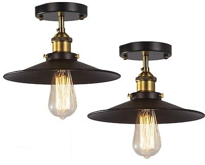 Vintage Industrial Ceiling Light Fixture Black Metal Semi Flush Rustic Set Of 2 ()