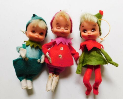 "3 Vintage Knee Huggers Elves Pixies Christmas 4"" Japan"