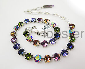 MARIANA PENELOPE SILVER NECKLACE Med Colorful Swarovski Crystal Tanzanite Rose