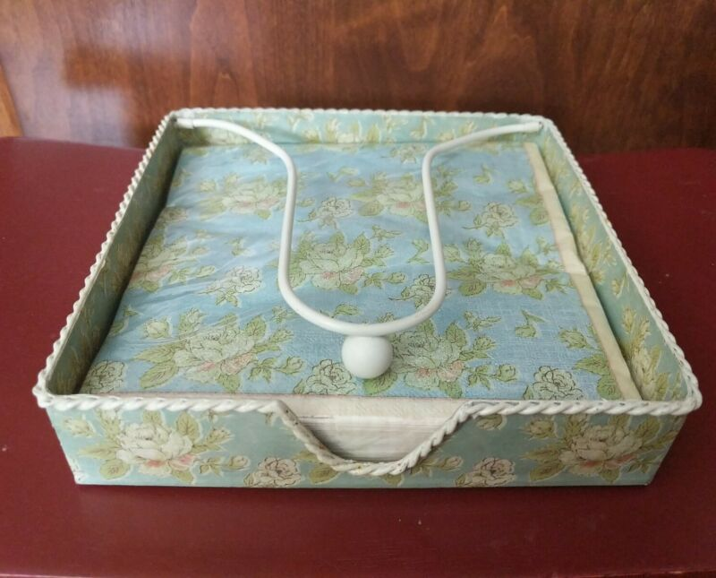 French Country Shabby Cottage NAPKIN HOLDER with Napkins Floral Turquoise
